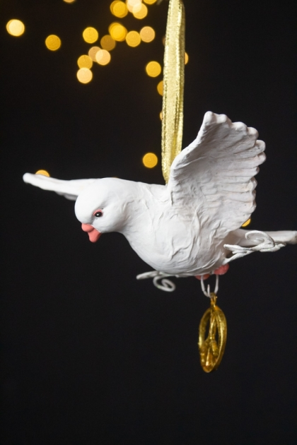 Image of the left side of the Peace Dove Hanging Christmas Decoration