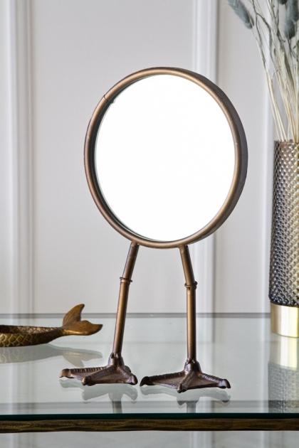 Lifestyle image of the Bronze Bird Feet Table/Vanity Mirror