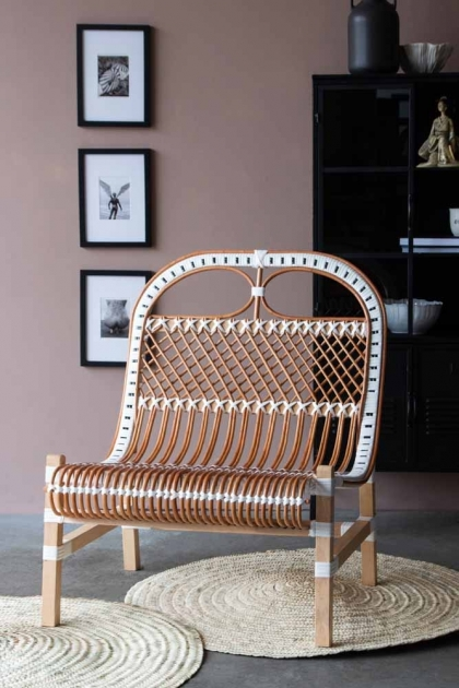 Front on lifestyle of the White & Natural Beautiful Rattan Lounge Chair