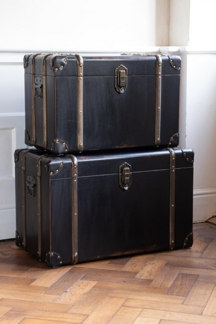 Lifestyle image of the Set Of 2 Traditional Black With Wooden Frame Storage Trunks