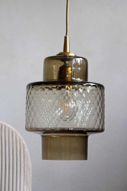 Image of the Two-Tone Smoked & Clear Textured Glass Pendant Light