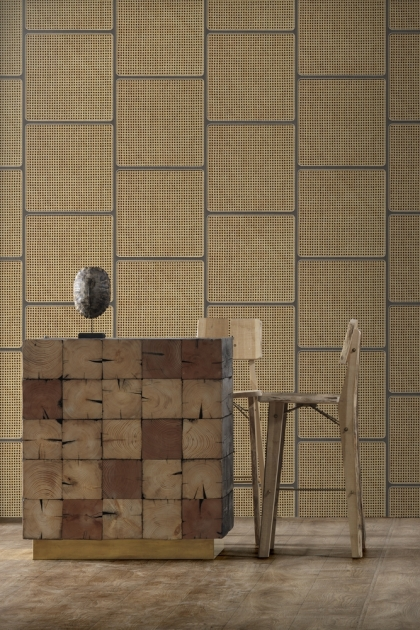 Lifestyle image of the Grey NLXL Vintage Square Webbing Wallpaper by Studio Roderick Vos