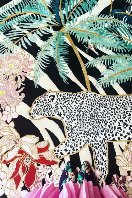 Image showing the left half of the Wendy Morrison Zebra Leopard Palms Hand Knotted Wool & Silk Rug
