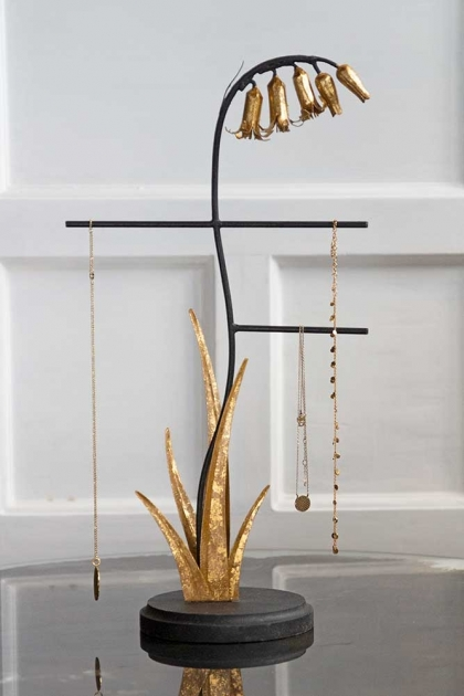 Lifestyle image of the Wooden Jewellery Stand With Golden Bluebell Flowers