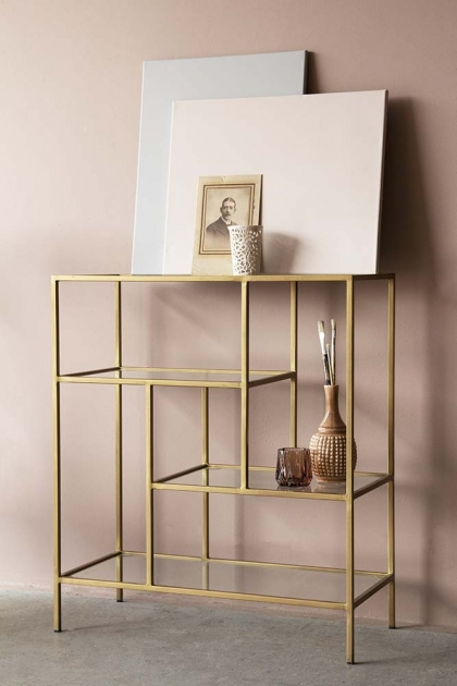 Antique Brass & Glass 4-Tier Shelf Unit