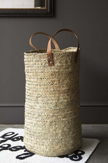 Nicole's Wicker Basket With Leather Handles