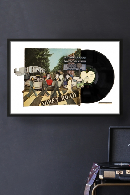 Framed Abbey Road Record Cover Collage by Alison Stockmarr