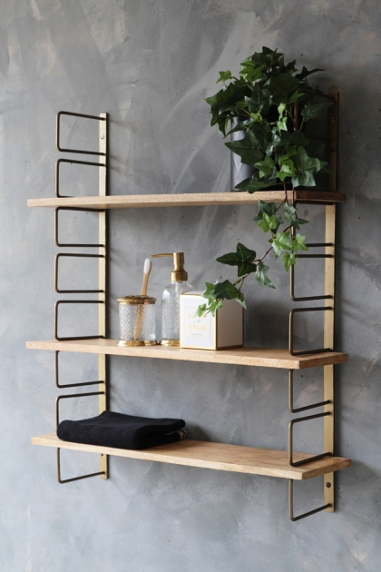 Adjustable Brass & Wood Wall Shelf