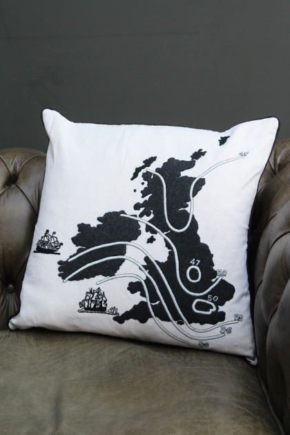 Ali Miller UK & Ireland Map - Home Sweet Home Cushion