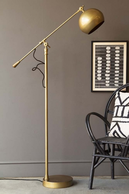 Angled Brass Dome Floor Lamp
