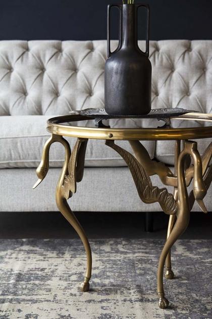 Beautiful Brass & Smokey Glass Swan Table