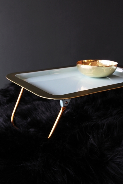 Bed Tray With Folding Gold Legs - Duck Egg