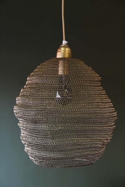 Beehive Antique Bronze Chain Pendant Light