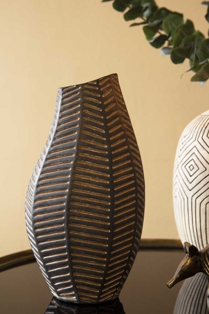 Lifestyle image of the Black African Ceramic Chevron Vase