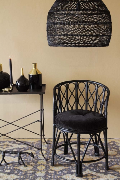Black Bamboo Chair With Velvet Seat Pad