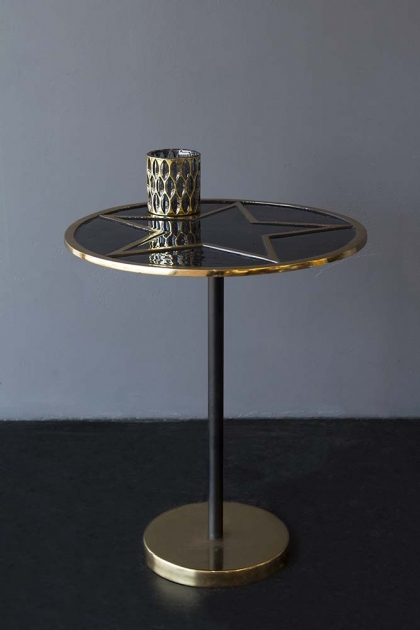 Black Enamel & Gold Star Side Table