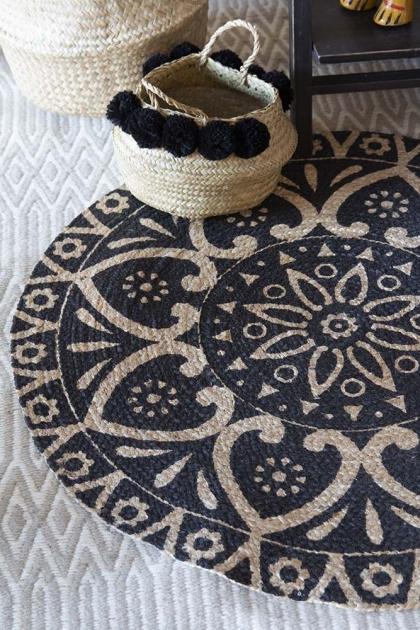 Black Mandala Pattern Natural Jute Circular Rug