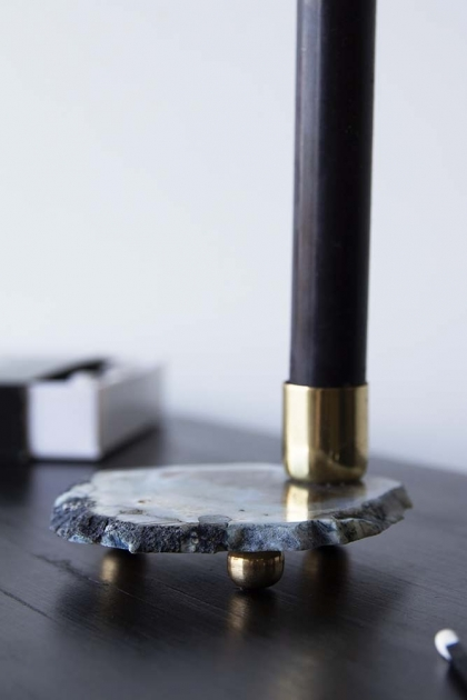 Black Quartz Candle Holder