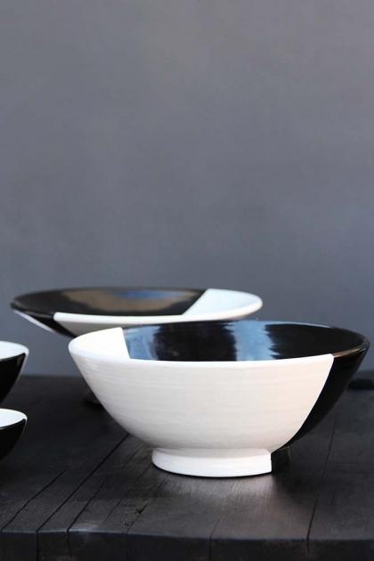 Handmade Moroccan Black & White Fruit Bowl - 28cm