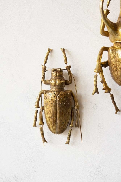 Lifestyle image of the Large Gold Stag Beetle Wall Decoration hanging on a white wall with second beetle in background