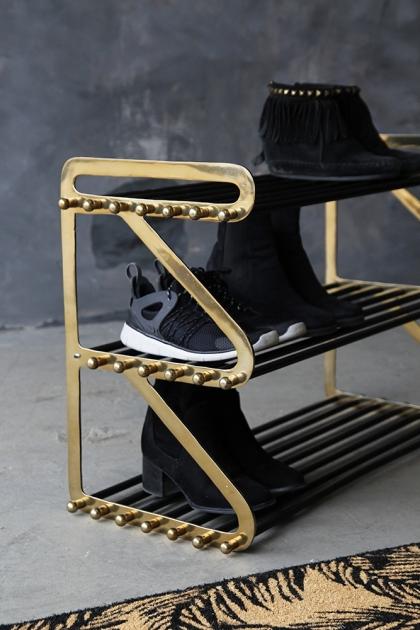 Three Tier Black & Brass Shoe Rack