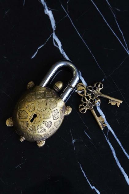 Decorative Tortoise Brass Padlock