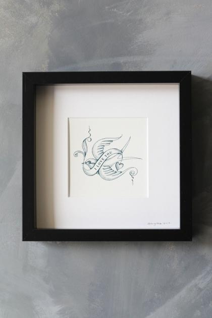 I Love You Bird Tattoo Art Work By Brigitte Herrod