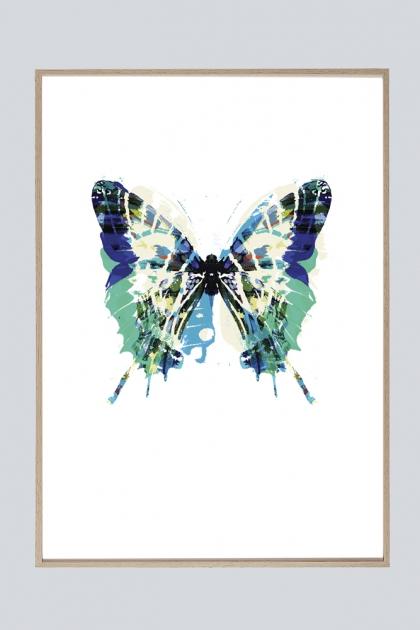 Unframed Papillon Bleu Vert Butterfly Art Print