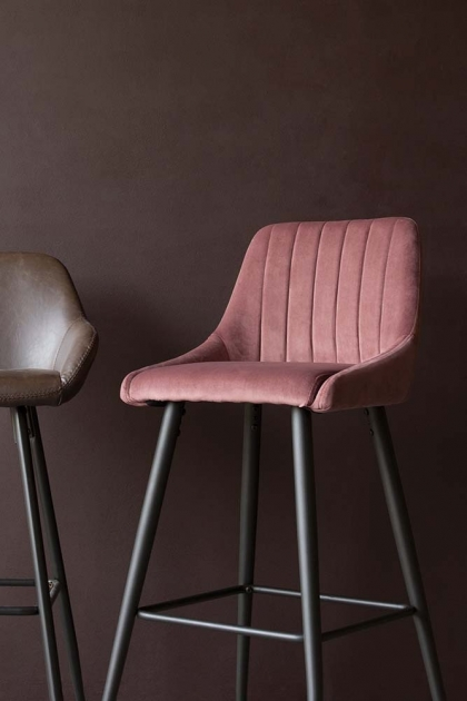 Tall Casino Velvet Bar Stool - Rose Pink