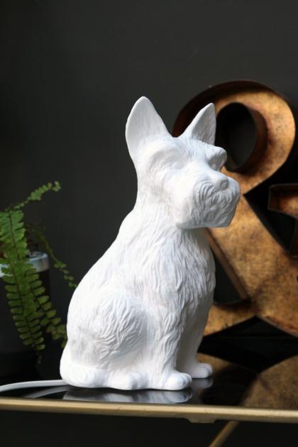 White Porcelain Terrier Table Lamp