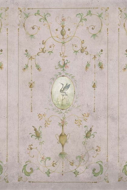 Close-up image of the Chinoiserie Panel Wallpaper Mural - Mirto Rose Pink
