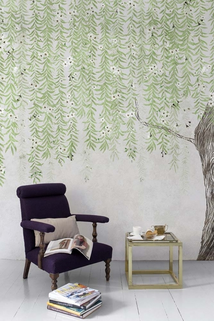 Lifestyle image of the Chinoiserie Tree Wallpaper Mural - Cora Spring