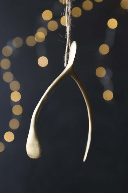 Gold Wishbone Hanging Decoration