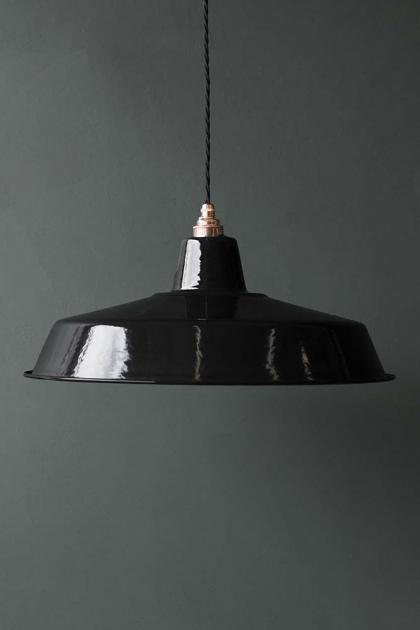 Classic Cloche Enamel Lamp Shade - Black