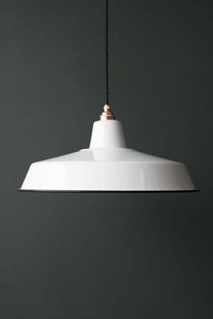 Classic Cloche Enamel Lamp Shade - White