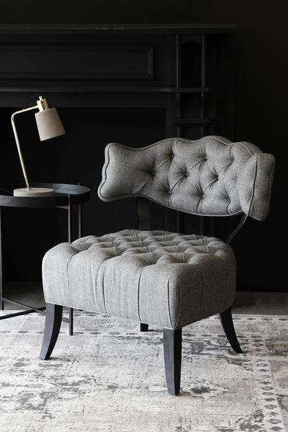 Cloud Herringbone Tweed Chair - Garson Grey