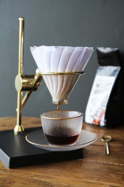 Coffee Drip Stand, Gold, Glass