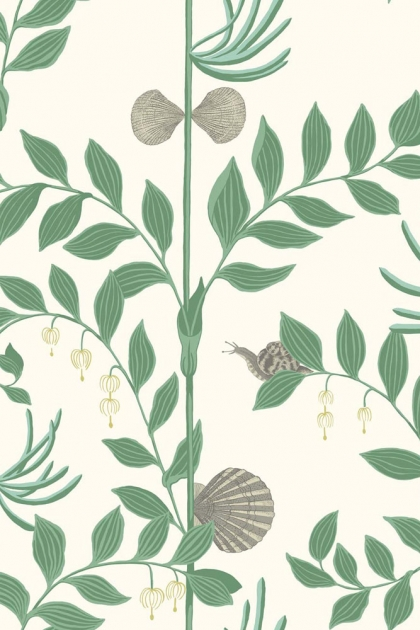 Close-Up detail Image of the Cole & Son Whimsical Collection - Secret Garden Wallpaper - Dark Green green foliage plants and grey shells on pale yellow background