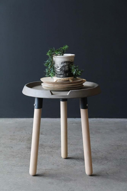 Lyon Beton Concrete & Wood Side Table