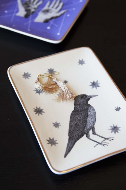 Crow & Stars Gold Rim Trinket Tray
