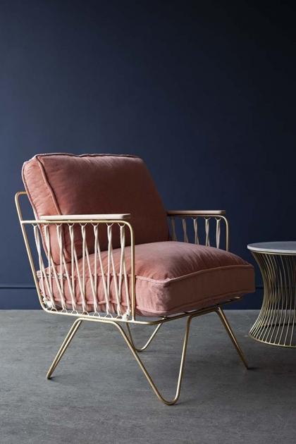 Croisette Velvet Armchair - Rose Pink