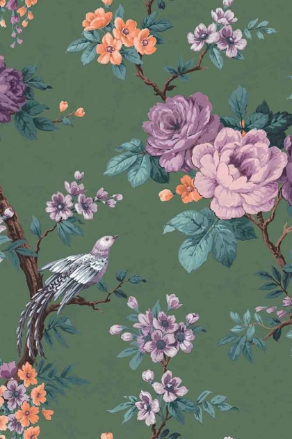 Swatch detail image of the Dawn Chorus Forest Green Wallpaper by Pearl Lowe