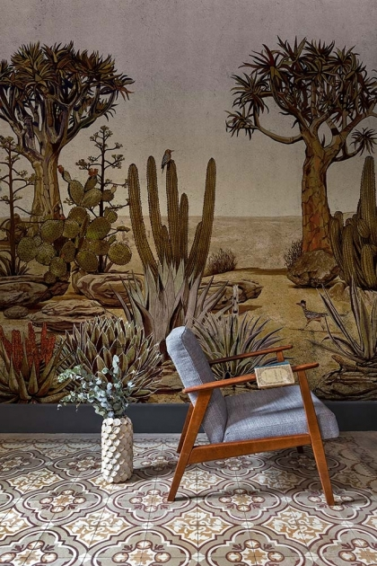 Lifestyle image of the Desert Landscape Wallpaper Mural - Meiji Rose Pink