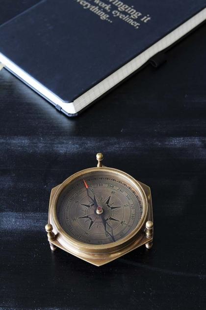 Antique Style Desk Calendar & Compass