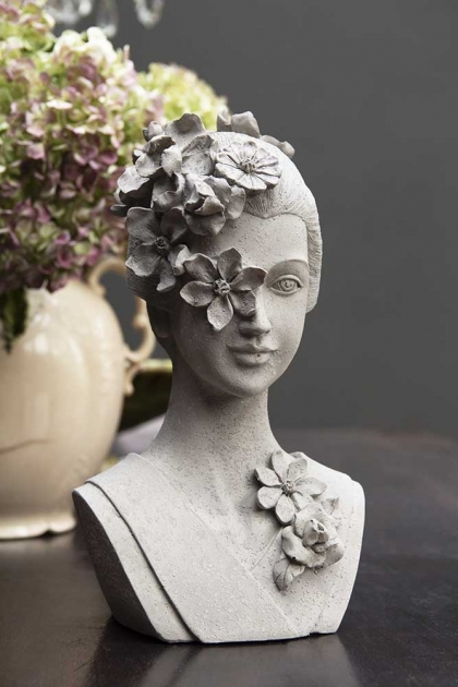 Lifestyle of Distressed Stone Effect Flower Headdress Lady Bust