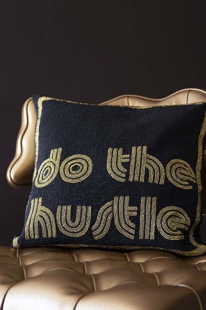 Do The Hustle Glamorous Beaded Cushion