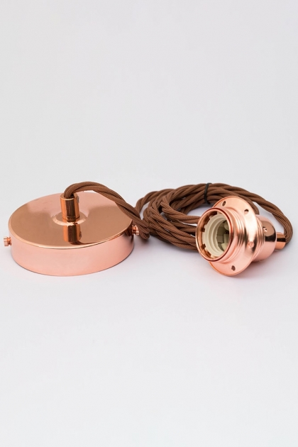 Image of the E27 Copper Flex & Fitting Set With Shade Ring coiled up