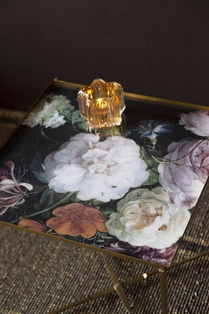 Floral Bouquet Side Table With Gold Legs
