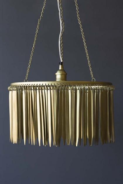 Metallic Fringing Chandelier - Gold