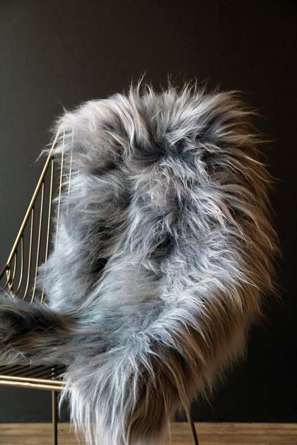 Genuine Icelandic Long Wool Sheepskin - Silver